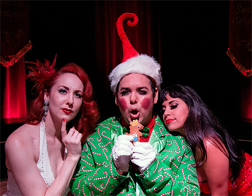 "Ruby Joule, Jade Esteban Estrada and Coco Lectric star in ""How Burlesque Saved Christmas"""